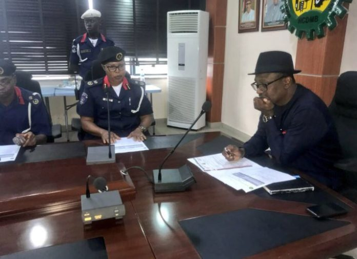 Nigeria Security and Civil Defence corps, NSCDC, Bayelsa State Command, commandant, Abiakam Omanu Christiana, Executive Secretary, Nigerian Content Development and Monitoring Board (NCDMB), Engr. Wabote Simbi, NCDMB, NNPC, Oil, Gas, Nigeria, Oil and Gas Park