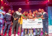 Heritage Bank Presents cheque of $3000 to Winner of African Freestyle Football Championship