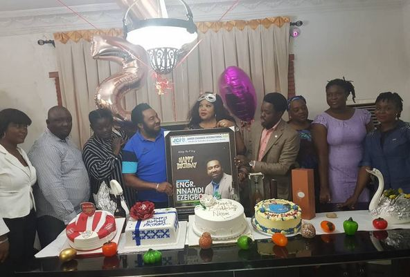 Founder and CEO of Slot Nigeria Limited, Nnamdi Ezeigbo, recently turned a year older and he could not keep calm as he was hosted to by family, friends and staff.