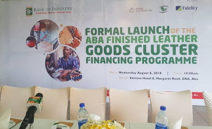Bank of Industry, Abia State, Leather works, Aba, Nigeria, Business, Fidelity Bank, Aba Finished Leather Good Cluster Financing Programme, Ford Foundation
