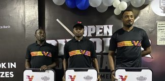 Snooker winners Shehu Bamidele, Gideon John and Victor Ukueku